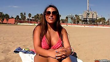Picking up hot Colombian milf sunbathing topless on the beach