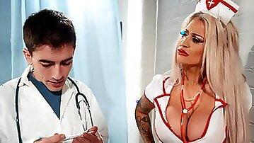 Seductive nurse bends that fine ass for cock