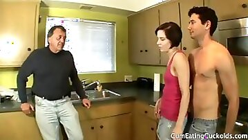 Old man watches young wife suck a new cock