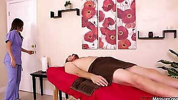 Hot sexy massage with a very happy and sticky end