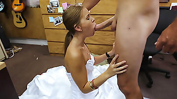 Slutty blonde babe Abby poses her fat pussy for cash