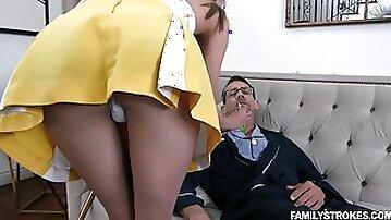 Horny grandpa fucking 19 yo step granddaughter in short skirt Zoe Sparx