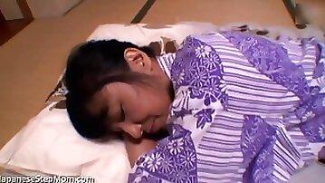 Step stepson delicately nails mom while she sleeps