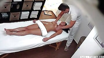 Oiled up for a massage but gets fucked hard instead