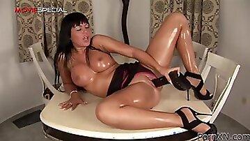 Sweet brunette Tamara is sucking giant rubber dick