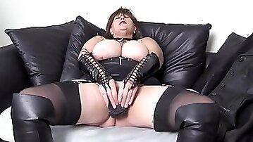 Nasty Big Tit Mature Goth Enjoys Big Black Dildo Fuck Boots Basque And Stockings