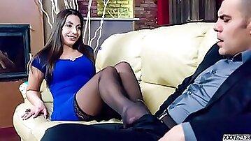 Beautiful Hungarian babe Carla Crouz in sensual foot fetish fuck
