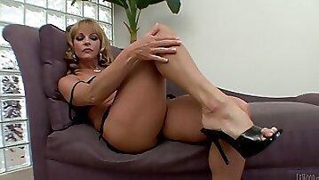 Blonde In High Heels Wired Doggystyle On Cumshot