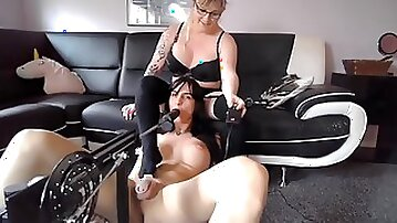 Tranny is drool roasted by her gf and drilling machine