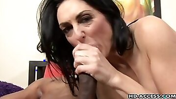 Mature brunette pornstar coping with a big black cock hardcore