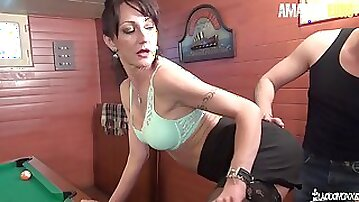 Perfect Tits French MILF Lyna Cypher Squirts and Fucks on Pool Table