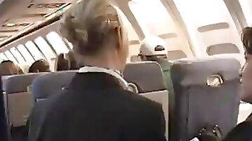 Air hostess wanks off passenger till he shoots his load