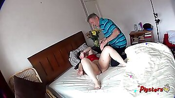 Spy Cam View Of Old Camera Man Masturbating And Fucking Curvy Young Model