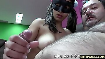 Masked Teen Strokes Thick Cock Of Hairy Oldman
