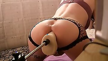 Sissy And superlatively nice ass fake penis, plowing Machines, Close Up