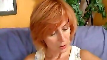Dirty Mature Redhead Wanking Her Hairy Cunt With Dildo