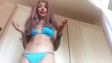 Mum has a new and highly arousing bikini..and she has too much air in her abdomen