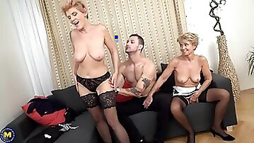 Slutty matures are having a threesome with a younger guy and moaning from pleasure while cumming