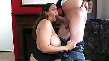 Chubby Brazilian mom with huge tits Kira B swallows hard dick of her stud ardently