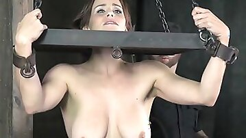 Busty MILF gets restrained and whipped