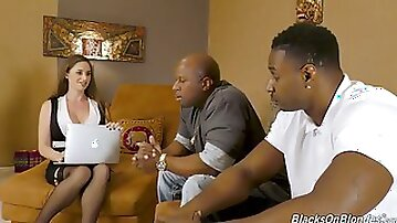 Posh white milf Cathy Heaven gets double penetrated by black dudes
