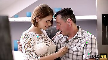 OLD4K. Milf dad helps large-bosomed young girl to relax having...
