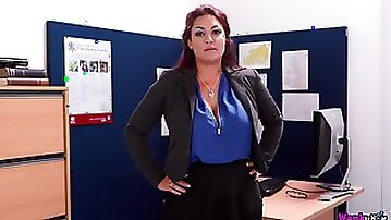 Big breasted tattooed office slutty MILF Roxy R strips and teases her own pussy