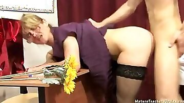 Lazy student works hard with his dick to satisfy old teacher