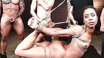 Four dudes double fucking nailing ebony slave