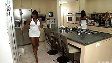 Chocolate and Lickable are babes in white dresses ready for a threeway