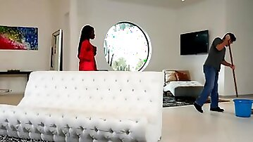 Ebony milf Osa Lovely seduces her white cleaner to fuck her with a deep bj