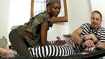African military babe getting ass fucked interracial
