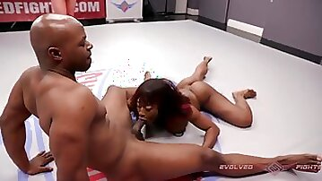 Muscular babe Kelli Provocateur Loses at Mixed Making Out Wrestling