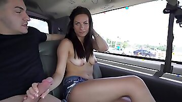Beautiful amateur girl gets into the van to be fucked by a stranger