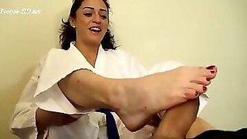 Footjob karate domination cleo earns her red karate belt