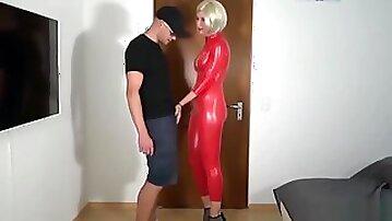 German blonde milf in red latex