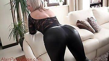 Ala teasing in tight leather pants