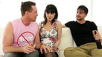 Juggy brunette Audrey Noir and two bisexual dudes enjoy steamy threesome sex