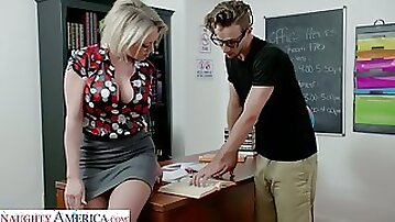 Awesome appetizing bosomy beauty Dee Williams is fucked on the table