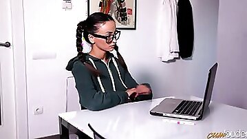 Nerdy Romanian chick in glasses Alyssia Kent turned to be a very dirty slut