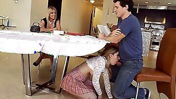 Sexiest Stepmom Rachael Cavalli catches Bitch under Table