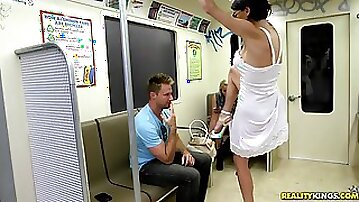 Amazing Violet Raye Goes Hardcore In A Public Train