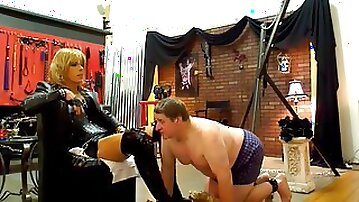 Dominant woman with big tits and long dick tortures fat dude
