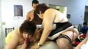 Wild orgy with crossdressing and BBWs