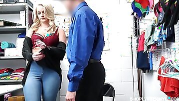 Sexy chubby blonde Lisey Sweet gets punished for shoplifting