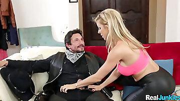 Blonde Leather MILF Sucks a Fat Dick