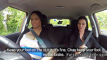 Fat ebony driving student eats examiner
