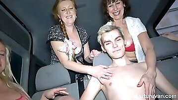 Boy gets to fuck 4 ladies in the Mature