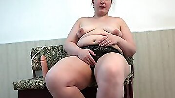Handsome fat with a furry cunt, hardcore with a big rubber schlong