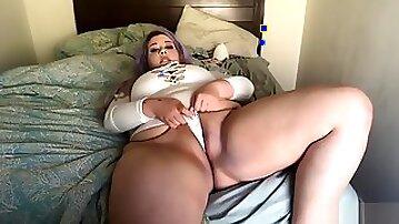BBW White Bodysuit Tease and Cum